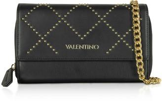 Valentino By Mario Valentino Mandolino Black Studded Eco-Leather Wallet on a Chain