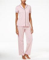 Nautica Contrast-Trimmed Printed Pajama Set