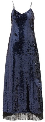 BLAZÉ MILANO Kelpie Beaded-hem Sequinned Dress - Navy