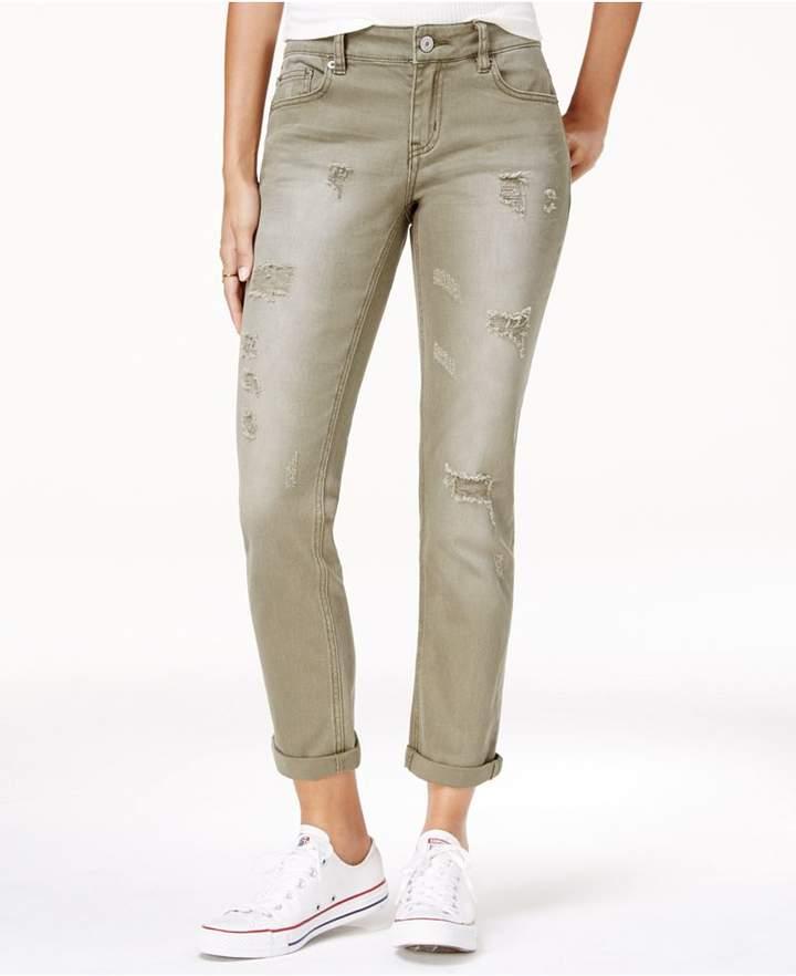 UNIONBAY Juniors' Margot Colored Ripped Cuffed Boyfriend Jeans
