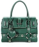 Luella Green Pebbled Leather Silver Tone Hardware Fold Over Gisele Tote Handbag