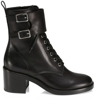Gianvito Rossi Lagarde Lace-Up Leather Combat Boots
