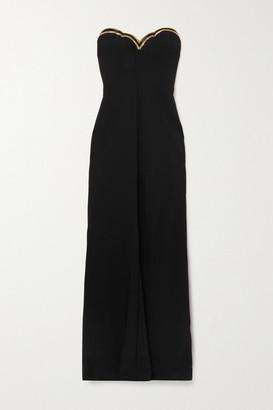 Reem Acra Strapless Beaded Crepe Gown - Black