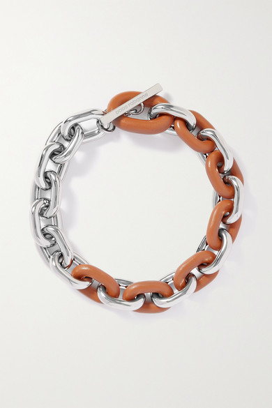 Paco Rabanne Silver-tone And Leather Necklace - one size