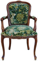 One Kings Lane Vintage Scalamandré Marly Fabric Walnut Armchair