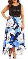Jodi Kristopher Plus Floral Print Two-Piece High-Low Dress