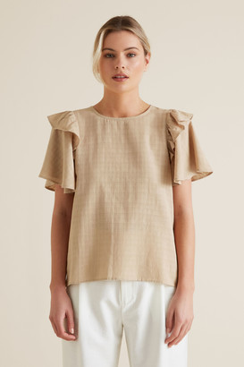 Seed Heritage Frill Sleeve Check Blouse