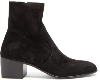 Saint Laurent James Block-heel Suede Ankle Boots - Black