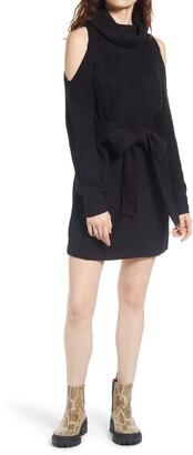 Lulus Sweet Demeanor Long Sleeve Cold Shoulder Sweater Minidress