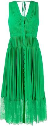 Self-Portrait Lace Detail Pleated Midi Dress