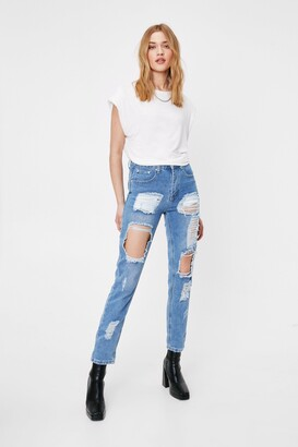 Nasty Gal Womens I Got Trouble Distressed Mom Jeans - Light Blue