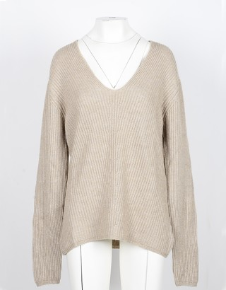 NOW Camel Cashmere and Wool Women's V-Neck Sweater