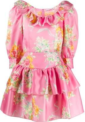 Alessandra Rich floral print organza mini dress