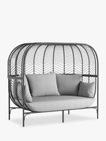 John Lewis & Partners Chevron 2-Seat Double Garden Sofa Pod, Black/Grey
