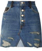 Amiri Paneled Distressed Denim And Leather Mini Skirt - Mid denim