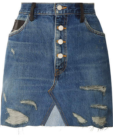 Amiri Paneled Distressed Denim And Leather Mini Skirt - Mid denim