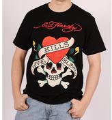 Ed Hardy Men's Black 'Love Kills Slowly' Graphic Tee Shirt