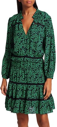 Joie Salama Leaf-Print Blouson Dress