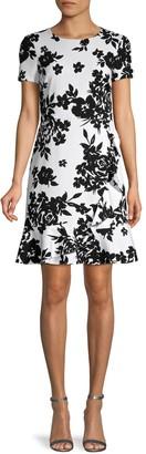Karl Lagerfeld Paris Floral Scuba Crepe Dress
