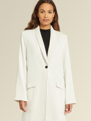 DKNY Donna Karan Women's Long Topper Coat With Shawl Collar - Cream/Navy - Size 12