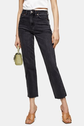 Topshop CONSIDERED Washed Black Straight Jeans