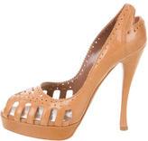 Tabitha Simmons Leather Peep-Toe Pumps