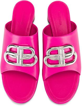Balenciaga Oval BB Sandals in Pink & Nickel | FWRD