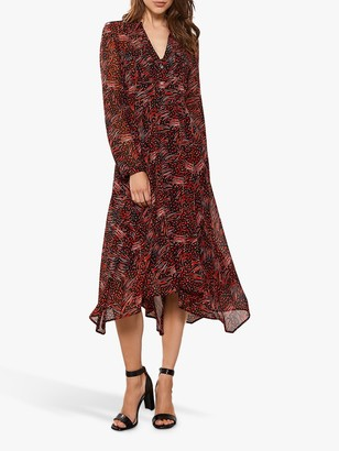 Mint Velvet Talia Utility Trapeze Dress, Red/Multi