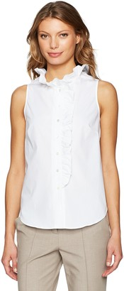 Trina Turk Women's Davita Polished Shirting Ruffle Tank
