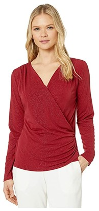 Vince Camuto Long Sleeve Faux Wrap Sparkle Jersey Top