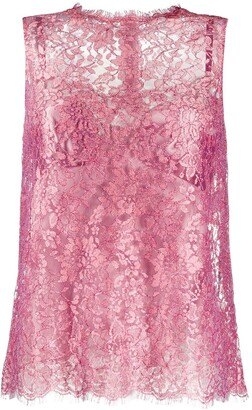 Dolce & Gabbana floral lace sleeveless blouse