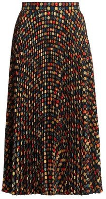 Akris Punto Wood Blockdot Mini Plisse Midi Skirt