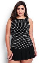 Classic Women's Plus Size High-neck Tankini Top-Black Dot
