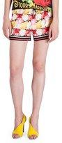 Mary Katrantzou Floral-Print Drawstring-Waist Shorts, Rose/Fuchsia