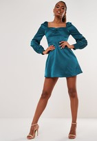 Missguided Teal Satin Milkmaid Button Skater Dress