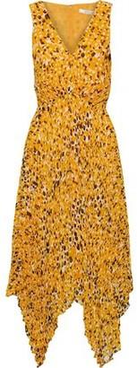 Derek Lam 10 Crosby Pleated Printed Crepe De Chine Midi Dress