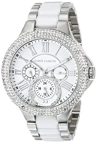 Vince Camuto Women's VC/5181WTSV Swarovski Crystal Accented Multi-Function Silver-Tone White Ceramic Bracelet Watch