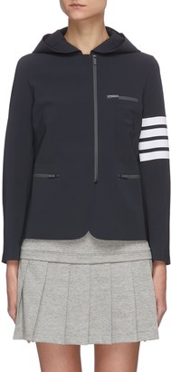 Thom Browne 'Compression' stripe sleeve hooded jacket