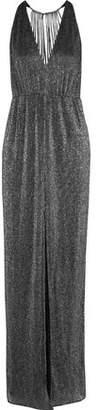 Halston Cutout Metallic Ribbed-knit Gown