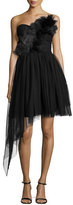 Haute Hippie Strapless Tulle Dress, Black