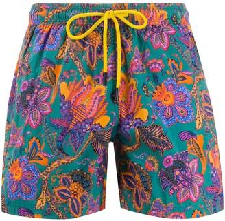 Etro paisley patterned drawstring swim shorts