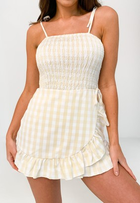 Missguided Yellow Check Shirred Frill Playsuit