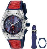 Technomarine unisex Quartz Watch with Blue Dial Chronograph Display and Blue Silicone Strap TM-115016