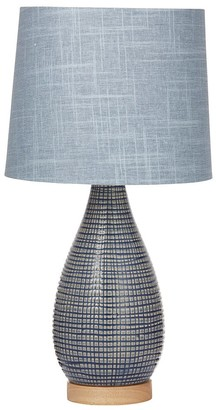 Amalfi Ceramic & Rubberwood Marson Table Lamp 28 x 28 x 54cm Brown & Blue