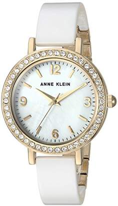 Anne Klein Women's AK/2348WTDB Swarovski Crystal Accented Gold-Tone and White Ceramic Bangle Watch