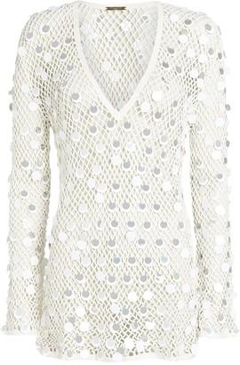 Caroline Constas Sequined Crochet Cover-Up Dress