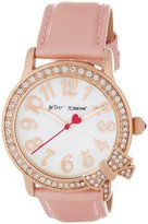 Betsey Johnson Women's Crystal Accented Bow Leather Strap Watch
