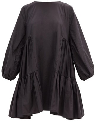 Merlette New York Byward Balloon-sleeve Drop-hem Cotton-poplin Dress - Black