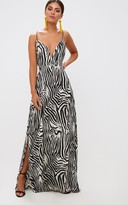 PrettyLittleThing Black Zebra Print Extreme Split Maxi Dress