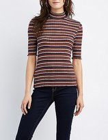 Charlotte Russe Striped Mock Neck Top